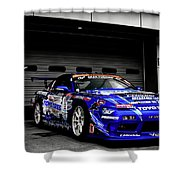7763 Nissan Tuning Race Cars Blue Cars Selective Coloring Shower Curtain