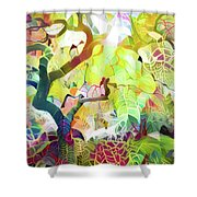 8 Abstract Japanese Maple Tree Shower Curtain