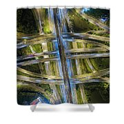 Aerial View Of Traffic Jams At Nonthaburi Intersection In The Evening, Bangkok. Shower Curtain by Pradeep Raja PRINTS