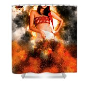 Asian Woman With Santa Hat  Shower Curtain