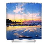 Beach Skyset Sunset On A Perranporth Beach Cornwall Shower Curtain