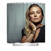 Beautiful Woman Portrait Shower Curtain