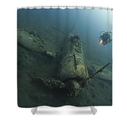Diver Explores The Wreck Shower Curtain