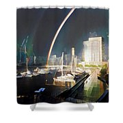 Docklands Double Rainbow Shower Curtain