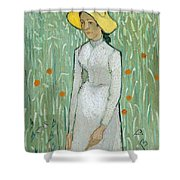 Girl In White Shower Curtain