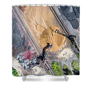 Mining Excavator On The Bottom Surface Mine.  Shower Curtain