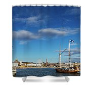 Old Sailing Boats In Helsinki City Harbor Port Finland Shower Curtain