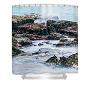Rocks And Waves At Point Cartwright  Shower Curtain