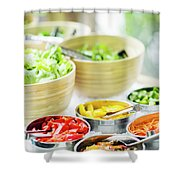 Salad Bar Buffet Fresh Mixed Vegetables Display Shower Curtain