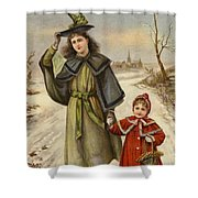 Vintage Christmas Card Shower Curtain