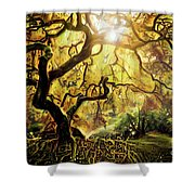 9 Abstract Japanese Maple Tree Shower Curtain