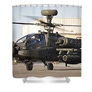 Ah-64d Apache Longbow Taxiing Shower Curtain