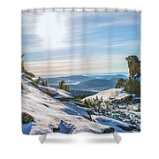 Amazing Winter Landscape With Frozen Snow-covered Trees On Mountains In Sunny Morning  Shower Curtain