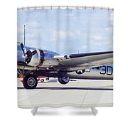 B-17 Bomber Parking Shower Curtain