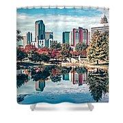 Charlotte City North Carolina Cityscape During Autumn Season Shower Curtain