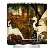 9 Egrets Shower Curtain