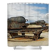 9 Inch Guns At Needles Old Battery Shower Curtain