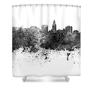 Lincoln Skyline In Watercolor Background Shower Curtain