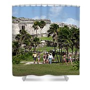 Mayan Temples At Tulum, Mexico Shower Curtain