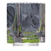 Mining Excavator On The Bottom Surface Mine.  Shower Curtain