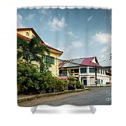 Old French Colonial Architecture In Kampot Town Street Cambodia Shower Curtain