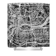 Quad Cities Street Map Shower Curtain