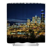 Seattle Skyline At Night Shower Curtain