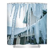 Snowshoe Mountain Village And Restaurants And Shops On A Sunny D Shower Curtain