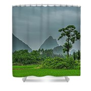 The Beautiful Karst Rural Scenery Shower Curtain