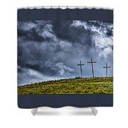 Three Crosses On Hill Shower Curtain