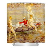 Tuke Henry Scott Ruby Gold And Malachite Henry Scott Tuke Shower Curtain