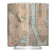 Vintage Map Of New York City  Shower Curtain