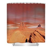Warm Skies Monument Valley Shower Curtain