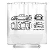 911 Gt3 Rs Blueprint - White Shower Curtain