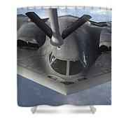 A B-2 Spirit Bomber Prepares To Refuel Shower Curtain
