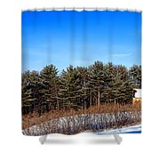 A Barn In The Snow In Maine Shower Curtain