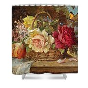 A Basket Of Flowers And A Butterfly Hans Zatzka Shower Curtain