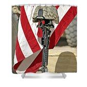 A Battlefield Memorial Cross Rifle Shower Curtain by Stocktrek Images