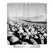 A Beach Of Stones Shower Curtain