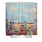 A Beach Promenade 2 Shower Curtain