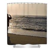 A Beach Walker Photographs Sunrise Shower Curtain
