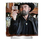 A Bearded Cowboy In Black Contemplates His Whiskey In A Saloon Shower Curtain