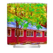 A Beautiful Country Building In The Fall 1 Shower Curtain