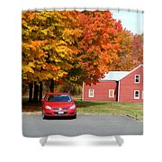 A Beautiful Country Building In The Fall 4 Shower Curtain