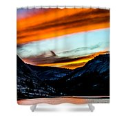 A Beautiful Jet Stream At Sunrise Shower Curtain