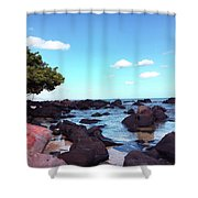 A Beautiful View Of The Sea From Mauritius Shower Curtain