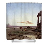A Bedouin Encampment By A Ruined Temple  Shower Curtain