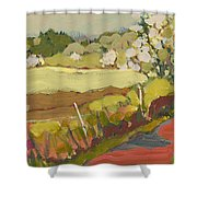 A Bend In The Road Shower Curtain by Jennifer Lommers