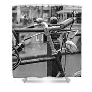 A Bicycle Parked At Fence, Netherlands Shower Curtain
