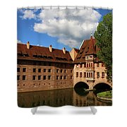 A Big Sky Over Old Architecture Shower Curtain